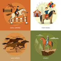 Quadrato delle icone di concetto 4 delle razze del cavallo