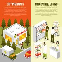Set di banner isometrica verticale farmacia vettore