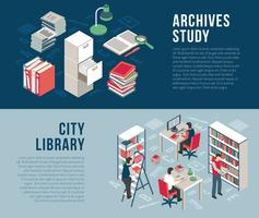 Archivi della biblioteca di città 2 banner isometrici