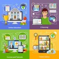 Icone piane di concetto 4 di formazione online vettore
