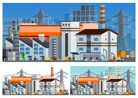 Set di composizioni ortogonali di edifici di fabbrica vettore