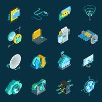 Set di icone isometriche di telecomunicazione vettore