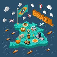 Mappa isometrica del Brasile vettore