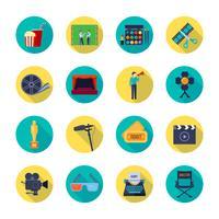 Collezione di icone piatte Round Attributes Filmaking vettore