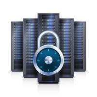 Illustrazione isolata realistica della serratura dello scaffale del server