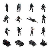 Collezione di icone isometriche di armi speciali vettore