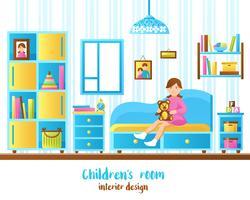 Illustrazione interna di vettore della stanza del bambino