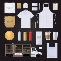 Insieme di progettazione del modello di identità corporativa della pizza vettore