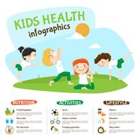 Manifesto Inforgrahic di yoga di stile di vita sano dei bambini vettore