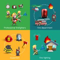 Composizione quadrata di 4 icone di fuoco combattenti