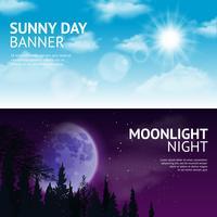 Set di banner di notte e giorno