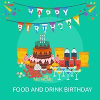 Progettazione concettuale dell'illustrazione di compleanno della bevanda e dell'alimento