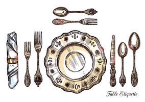 Illustrazione disegnata a mano di etichetta di Tabella vettore