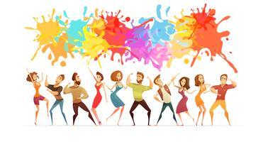 Bandiera colorata del fumetto dell'insegna ballante della gente vettore