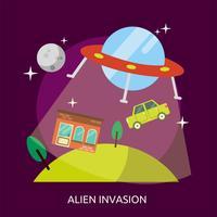 Progettazione concettuale dell'illustrazione di invasione aliena vettore