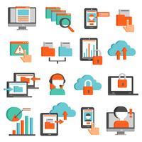 Set di icone piane di tecnologie dell'informazione vettore