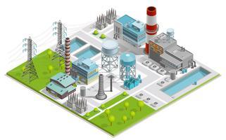 Illustrazione vettoriale della fabbrica di caldaie