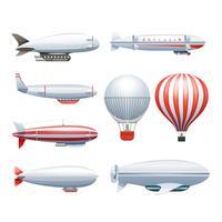 Set di icone rosso bianco dirigibile dirigibile