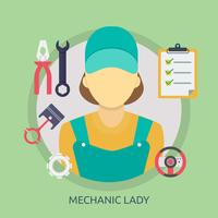 Disegno dell'illustrazione concettuale della signora del meccanico