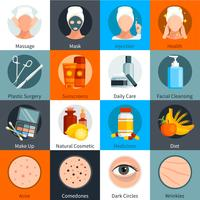 Set di icone colorate piatte per la cura della pelle vettore