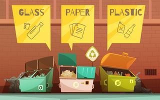 Icone del fumetto di smistamento dei rifiuti dell'immondizia messe vettore
