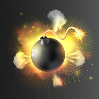 Boom Bomb Exploding Festive Poster Print vettore