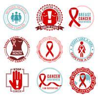 Insieme di logo degli emblemi del cancro al seno