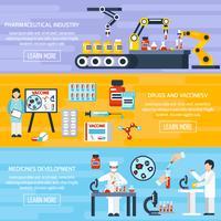Set di banner di produzione farmaceutica vettore
