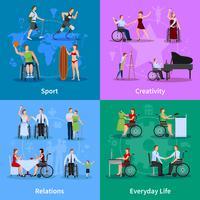 Persone disabili 4 icone piane quadrate vettore