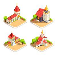 Set di icone isometriche di Chiesa 4 vettore