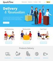 Servizio ristorante prenotazioni banner infografica piatte vettore