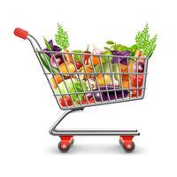 Carrello della spesa di frutta e verdura fresca vettore