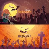 Set di bandiere di Halloween vettore