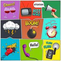 Set di design di pannelli colorati di fumetti vettore