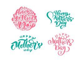 Insieme di frasi su Happy Mothers Day. Vector lettering testo calligrafia. Citazioni disegnate a mano vintage moderno. La migliore mamma mai illustrazione