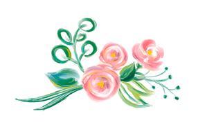 Mazzo di fiori di vettore dell'acquerello di primavera carina. Illustrazione isolata di arte per la progettazione di festa o di nozze, Rose disegnate a mano della pittura