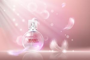 Illustrazione vettoriale di un profumo di stile realistico in una bottiglia di vetro.