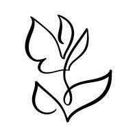 Linea continua mano che disegna bellezza calligrafica di logo di concetto del fiore di vettore. Elemento di design floreale primaverile scandinavo in stile minimal. bianco e nero