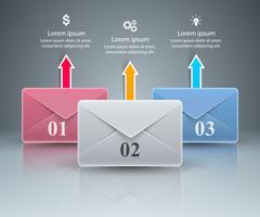 Busta, email, icona della posta. 3D astratto infografica. vettore