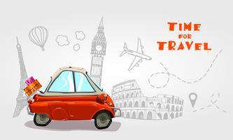 Viaggio su strada. Elementi di vacanza Tempo di viaggio.