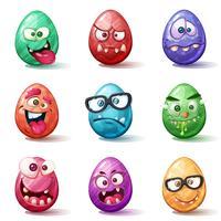 Felice fumetto di Pasqua. Imposta l'icona dell'uovo.