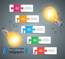 Lampadina, luce, elettrico - infografica aziendale.