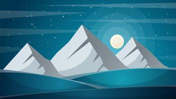 Viaggia notte paesaggio dei cartoni animati. Fi, montagna, cometa, stella, luna, vettore