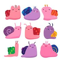 lumache character collection design vettore
