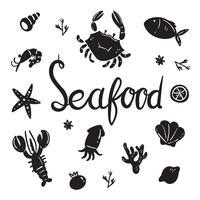 disegno di raccolta del vettore di frutti di mare