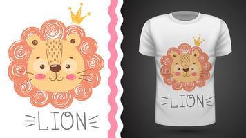 Leone carino - idea per t-shirt stampata. vettore