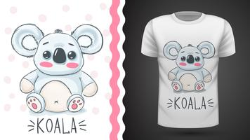 Koala carino - idea per t-shirt stampata. vettore
