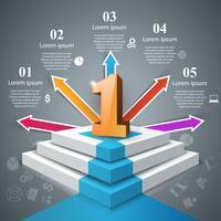 Infografica su per la scala verso il successo. Un'icona Scala aziendale