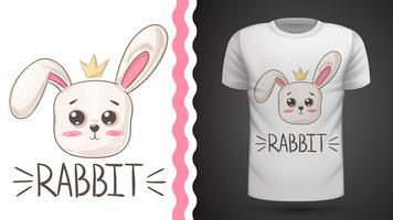 Simpatico coniglio - idea per t-shirt stampata. vettore