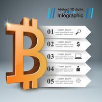 Infografica aziendale. Bitcoin, icona di denaro. vettore